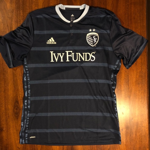 save off d3f70 642cf Adidas Authentic Navy Sporting Kansas City Jersey NWT